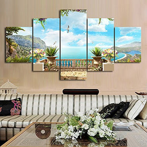 Landscape Ocean Tropical Seascape 5 Piece Modern Wall Art Stretched Canvas Print Home Decor Accent