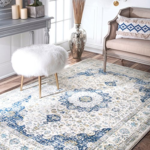 Traditional Vintage Distressed Persian Area Rugs, 3' x 5', Blue Gray White Superior Quality Transitional Modern Rug Affordability FloorCoverings