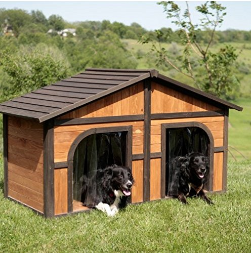 Extra Large Solid Wood 2 Dog 2 Door House Spacious Kennel Patio Garden
