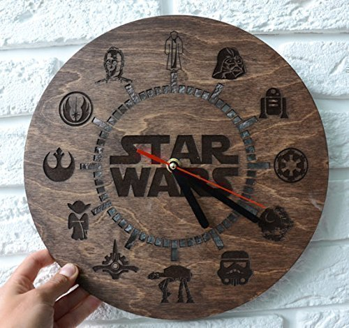 Wooden Wall Clock for kitchen Star wars gifts ideas by Enjoy The Wood, Darth Vader Custom Engraved Housewarming Home decor Hanging Round Wedding gifts for couple present for best friend