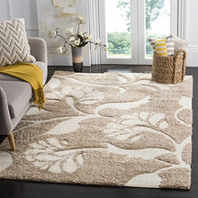 Safavieh Shag Flokati Collection Area Runner Durable 100% Poly Modern Contemporary Easy Care Unique Ivory Beige Floral Flowers Home Decor Accent