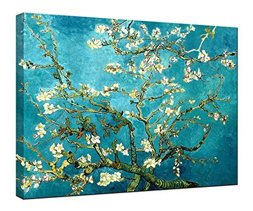 Van Gogh Almond Blossom Modern Framed Floral Canvas Prints Flowers Canvas Wall Art Ready to Hang