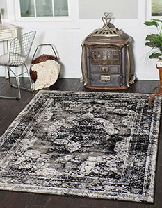 Vintage Traditional Persian Distressed Design Rug Gray Rug Black 4' x 6' FT Area Rug  Home Decor