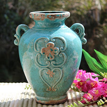 D'vine Dev Country Rustic Large Blue Ceramic Vase Decorative Bouquet Holder - 11.5'' Tall - Ideal Home Décor Vase or Great Gift for Home Warming, Weddings, Special Events and Flowers
