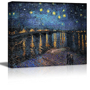 "Vincent Van Gogh Starry Night over The Rhone Canvas Prints Wall Art Ready to Hang - 16"" x 20"""