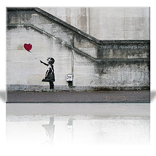 Stretched Canvas Print Wall Art  There is always hope  Girl and red heart balloon Wall Ready