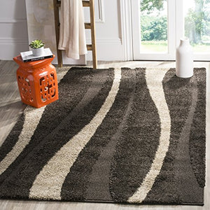 "Safavieh Fickati Shag Collection Cream Dark Brown Shag Area Runner 2'3"" x 11' Handmade Easy Care Size Options Durable Home Decor Accent Modern"