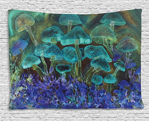 Vivid Tapestry Speckled Fluorescent Mushroom Dreamy Fantasy Wall Art