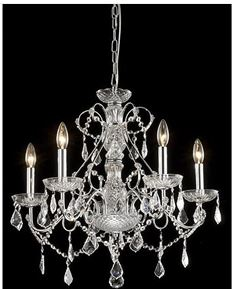 Crystal Chandelier with Black Drum Shade