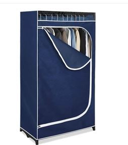 Garden Home Portable Clothes Closet Wardrobe in Blue Breathable Fabric Accent