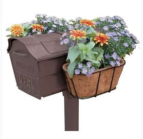 Home Garden Lights Mailbox Hanging Flower Planter with Coco Mat Lawn Yard