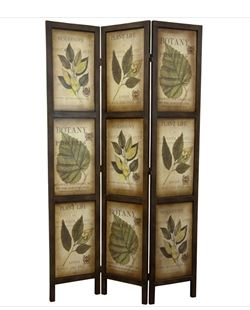 Home Garden 3-Panel Double Sided Floral Botany Plant Life Floral Leaves Room Divider Accent