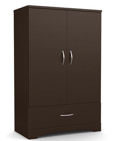 Home Accent Contemporary 2 Door Armoire Wardrobe Cabinet Bottom Drawer Chocolate Brown
