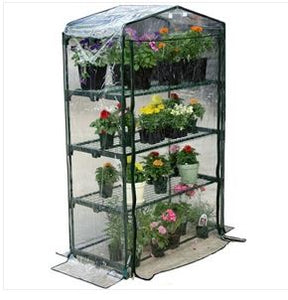 Home Garden 4-Tier Growing Rack Planter Stand Greenhouse with Thermal Cover Accent