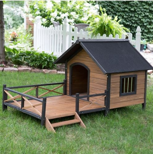 Home Garden Lights Large Solid Wood Outdoor Dog House with Spacious Deck Porch