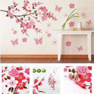 Flower Butterfly Pink Flowers Bracnhes Wall Art Print   poster decor  bedroom decoration