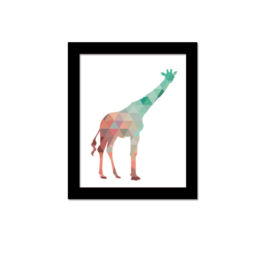 Multi-color Geometric giraffe art print wall poster Decor picture home decor Frame not include