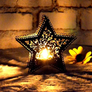 Creative Star shape   candle holder iron home decor Accent Tealight Holder Lacey Cut Outs