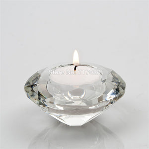 Crystal Candle Holder tealight  glass Diamond Cut Design Modern Home Decor Accent Classical