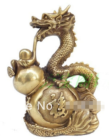 Chinese Dragon playing Gourd bronze statue Accent Home Decor Sculpture Bronze Success Good Fortune