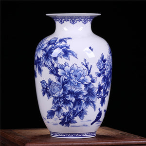 Jingdezhen blue white Vases Chinese Vase Peony Decorated Quality Ceramic Vase Accent Home Decor
