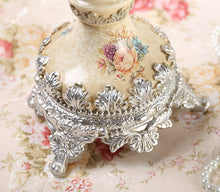 Victorian 3 Taper Candle  Holder Retro Romantic Shabby Chic Roses Metal Accents  Home Decor Table