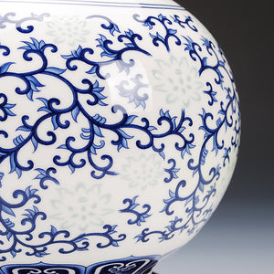 Jingdezhen Rice Floral pattern Ceramic Pomegranate Vase Blue white Decorated Accent Home Decor
