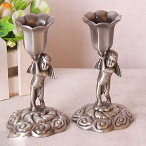"Pair 4""Tall Metal Embossed Retro Angel Candlestick Candle Holder Pedestal Dinner Accent Home Decor"