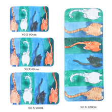 Kitty Cats Hallway Welcome Floor Rugs Anti-Slip Cute Animal Mat Print Modern  Accent Home Decor