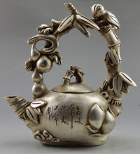 Collectible Decorated Tibet Metal Alloy Carve Bird Grape Tree Tea Pot Classical Accent Home Decor