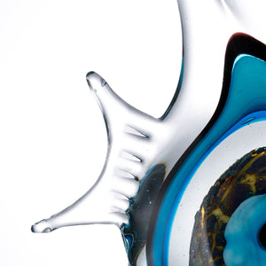 Blue Strip Fish Glass Figurine attracts energy wealth abundance harmonious  Feng Shui Accent Decor