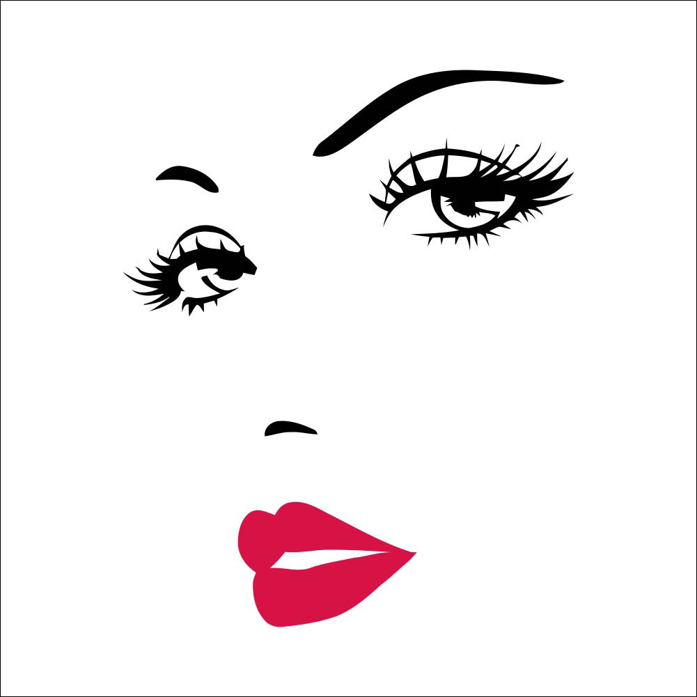 Girl Black  White Eyes with Red Lipstick Wall Print Decoration Home Art Poster 57x70cm Gift Accent