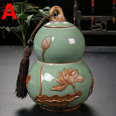 China Ge-kiln ceramic tea canister Storage Glazed  Floral Magnolia Accent Home Decor Ornaments