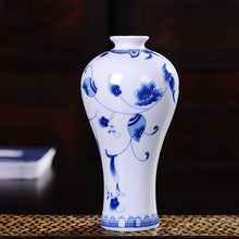 Vintage Floral Pattern Blue White Ceramic Vase Traditional Classical Collectable Accent Home Decor