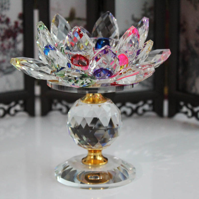 Crystal Glass Lotus Flower positive peace purity Enlightenment fortune Accents Feng Shui Decor