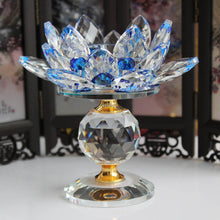 Crystal Glass Lotus Flower Metal Candle Holders Feng Shui Home Decor Tealight Home Decor Accent