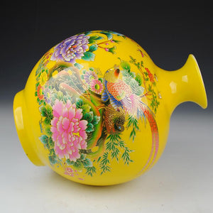 Jingdezhen Golden Pheasant Pomegranate Vase Decorated Ceramic Vase Accent Home Decor Classical