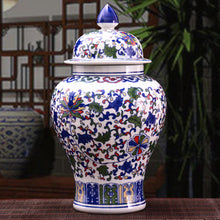 Chinese Qing Ceramic Ginger Jar Blue White Floral Pattern Accent Home Decor Classical Vase w/ Lid