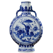 Jingdezhen Blue White Vase  Chinese Figure Pattern Handle Vase Ming Qing Ceramic Home Decor Accent