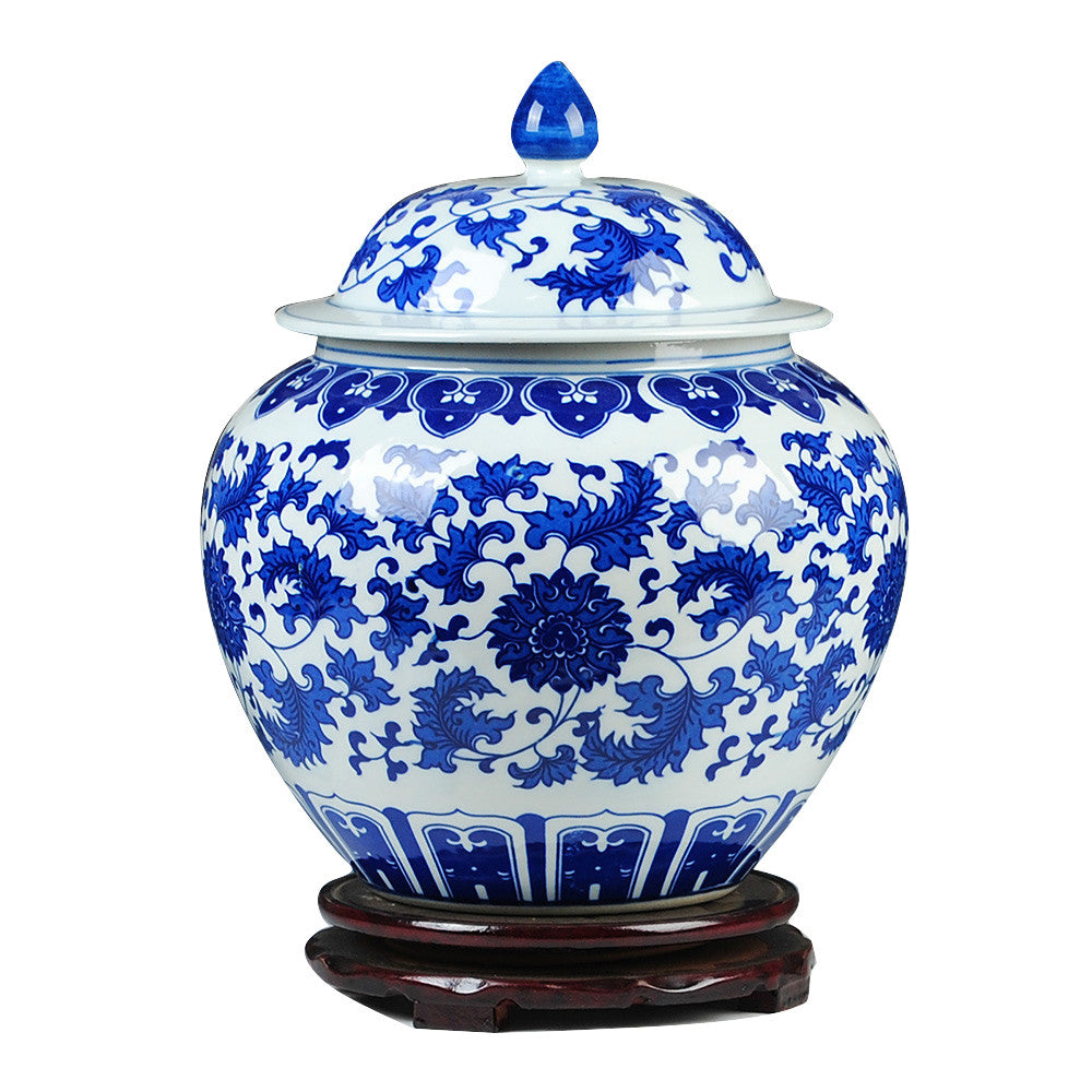 Classical Blue Whit Jars Modern Qing Dynasty Style Ginger Jar Home Decor Accent Ceramic Vase