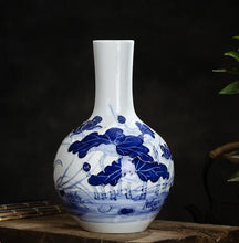 Jingezhen Ceramic Scene Chinese Vase Blue White Porcelain Flower Home Decor Accent Classical Trees