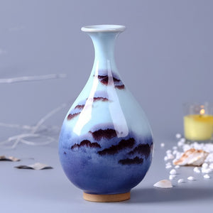 Chinese Wind Theme Home Decor Ceramic Vase Blue White Gold Ring Handles Accent Classical  Flower