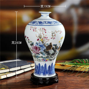 Jingdezhen Ceramics Mei Ping Blue White Multi Color Traditional Traditional Home Decor Accent Vase