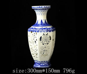 Exquisite Traditional Chinese 2 Pieces Hollow-out Blue White Ceramic Vase Qianlong Mark Accent