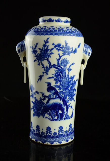 Chinese Qing Dynasty Style  Blue White  Ceramic Vase QIAN LONG mark Flower Floral Elephant Handles