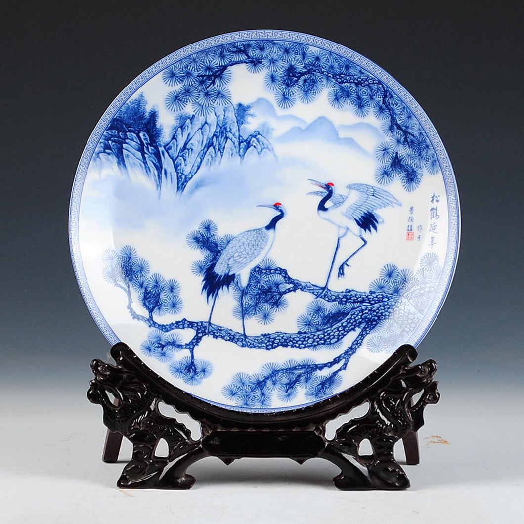 Blue and White Traditional Porcelain Trees Birds Cranes Chinese Home Decor Gift Tabletop Accent