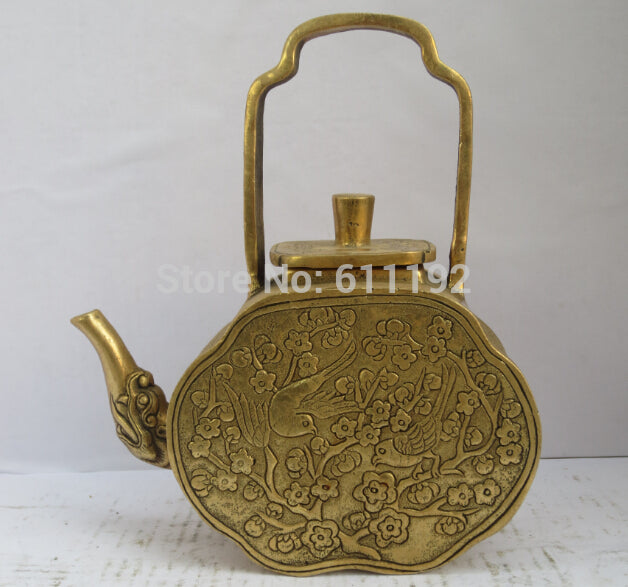 Hand-carved brass Metal Home decor Flower birds Tea Pot Embossed  Accent Home Decor Traditonal