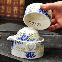 Tea Set Include 2 Cup Quality Elegant Gaiwan Travel Tea Set Blue White Rice Pattern Home Accent