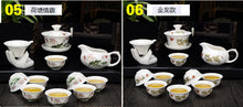 White Ceramic Lotus Tea Set Chinese Kung Fu Classical Home Decor Accent Tea Pot with cups