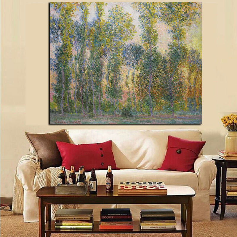 Monet Poplars Giverny Landscape Impressionist Landscape Art Print Wall Accent Home Accent Vivid
